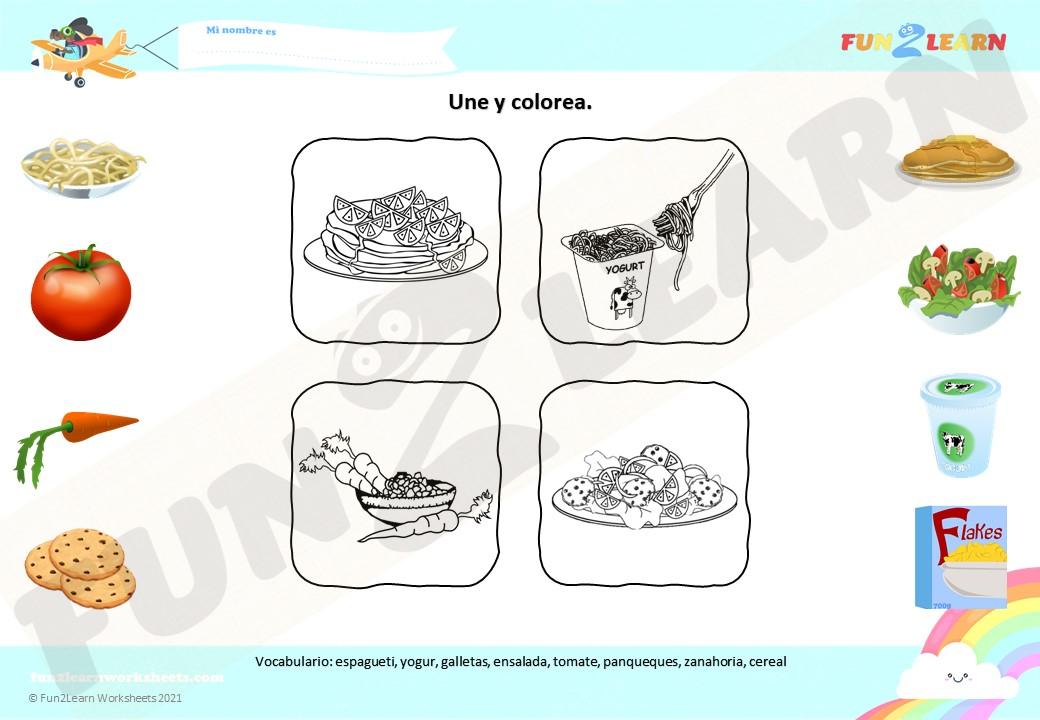 espagueti yogur worksheet