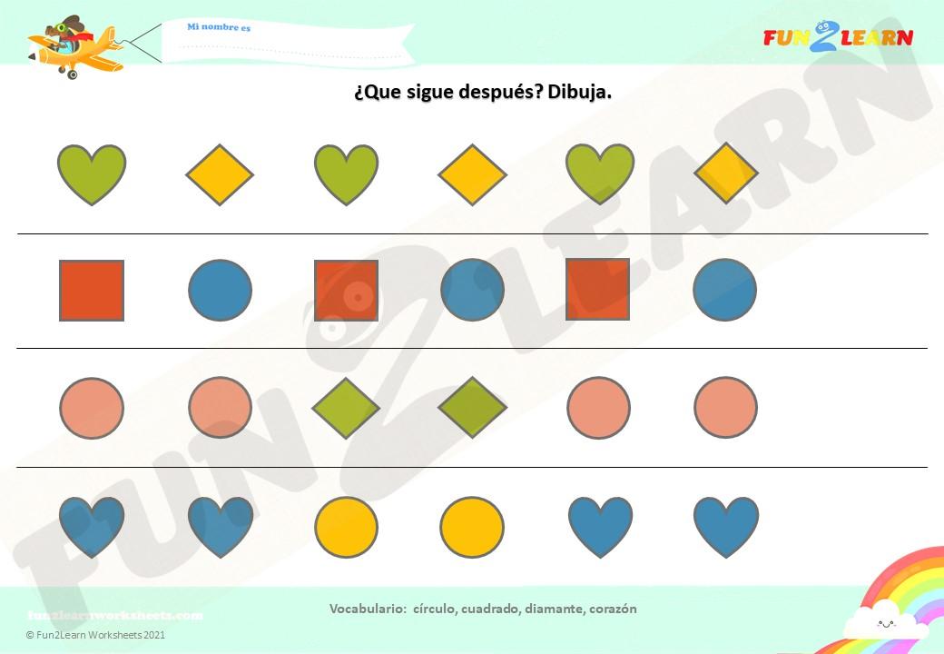 formas super simple Español worksheet