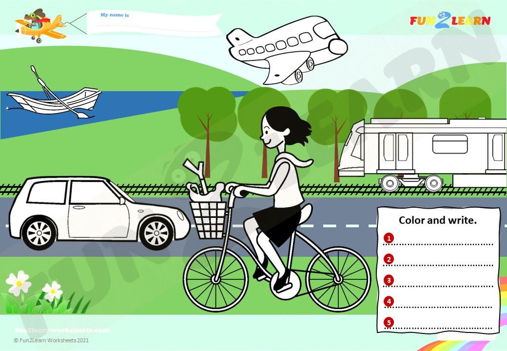 transportation worksheet super simple