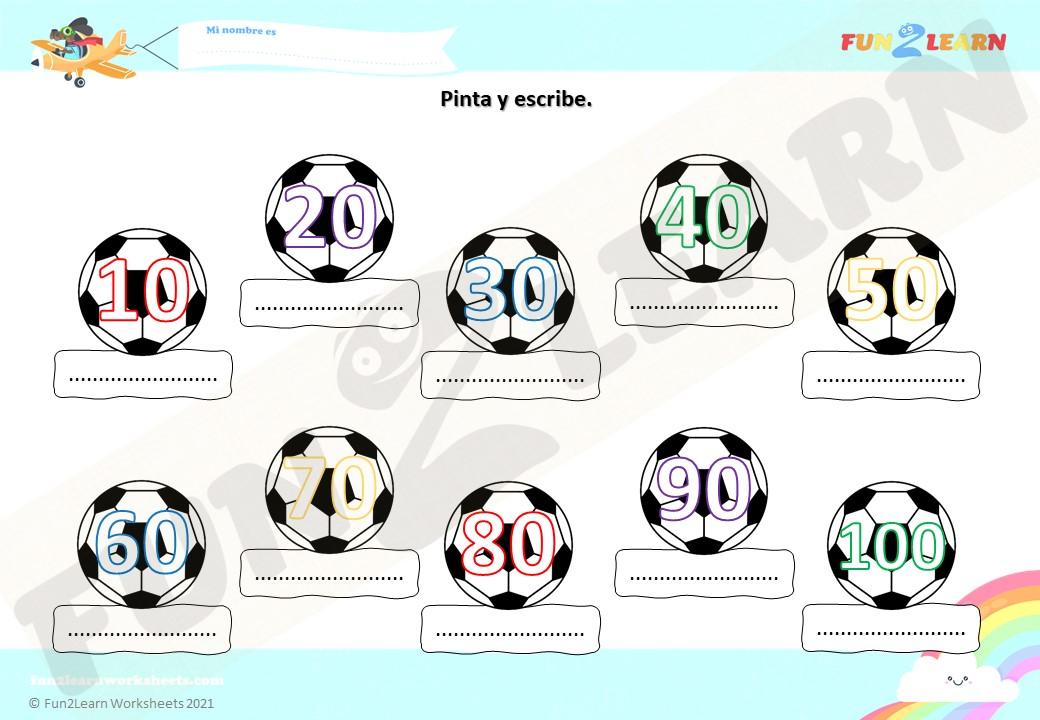 steve Futbol Números worksheet
